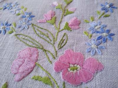 Gorgeous Pink flowers ~ Vintage Hand embroidered Doily ~ 2 Available