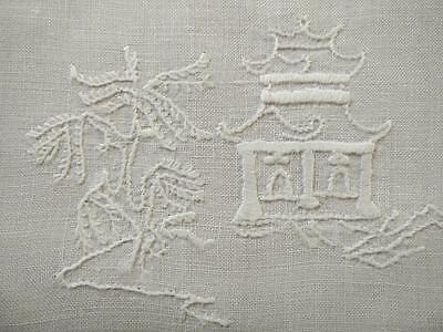 Vintage White-Work Blue Willow Theme ~ Hand Embroidered Large centrepiece/mat