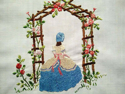 Glorious Crinoline Lady & Rose Arch~Vintage Raised Hand Embroidered PicturePanel
