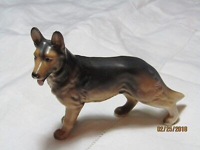 "Vintage German Shepherd Figurine/? Lefton / EUC / 3.50"" x 5"" W / Brown, Black"
