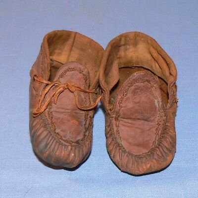 Moccasins baby toddler shoes leather old vintage brown worn decorative western