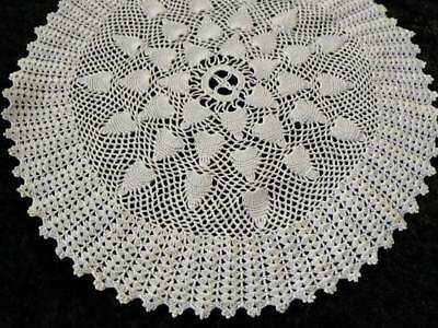 "Wonderful Vintage Hand crochet White Large Doily 9"" Diameter"