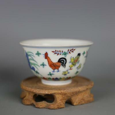 Chinese Old Marked Doucai Colored Pattern Porcelain Chicken Cup