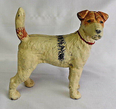 Wire Hair Fox Terrier Airedale, cast iron dog doorstop