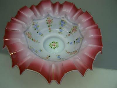 Victorian cranberry and milk glass bridal basket bowl with enamel decoration