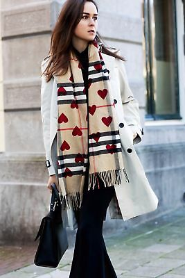 NEW!Burberry Women's Scarf Classic Cashmere in Check and Hearts Parade Red