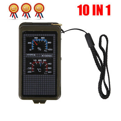 10in1 Multifunction Outdoor Survival Military Emergency Hiking Compass Tool Kit