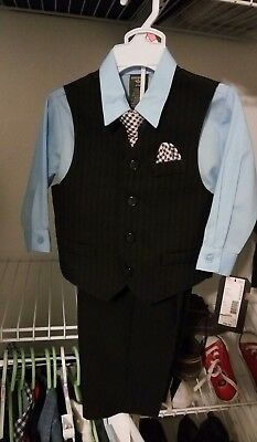 4 piece Dockers Toddler Suit 24 month 24m Black with Blue Shirt