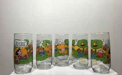 Vintage Camp Snoopy Collection Drinking Glasses by McDonald 5 Glasses total