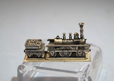 Dutch Miniature 830 Silver 19th Century Steam Engine Locomotive w/Coal Trailer