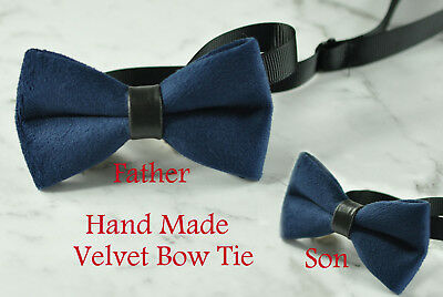 66408904a5ac Father Son Match 100% Handmade Navy Blue Velvet Bow Tie Bowtie Wedding Party