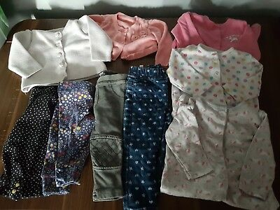 Girls bundle of 0-3 3-6 clothes sleepsuits unicorns leggings cardigans
