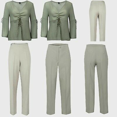 Ladies Trousers Size 20 18 16 14 12 10 8 Woman Bell Sleeve Top 2PC Outfit NEW