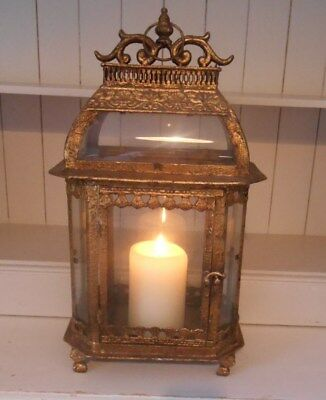 Extremely Large Crackled Gold Candle Lantern 'Very heavy' and very gorgeous