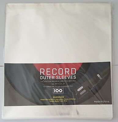 """100 x Record Outer Sleeves for Vinyl LP Records 12"""" Clear"""