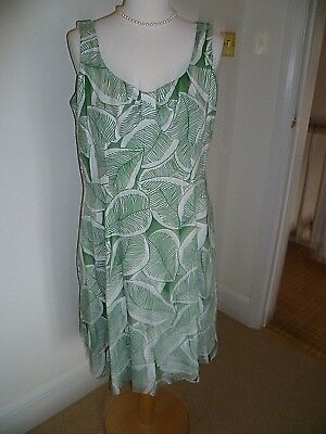 LADIES HOBBS Size 14 Green And White Linen Holiday Wedding Day Dress ...
