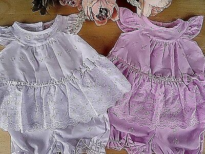 2 Pcs Broderie Anglaise Traditional Baby White Pink Dress Bloomers 0-3-6-9 m