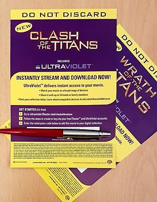 CLASH & WRATH of the Titans (2010-) Ultraviolet UV Codes (SD from DVD /NO  DISCS)