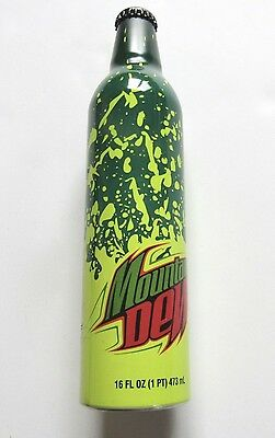 Mountain Dew Green Label Art Aluminum Soda Bottle Full Splish Splash