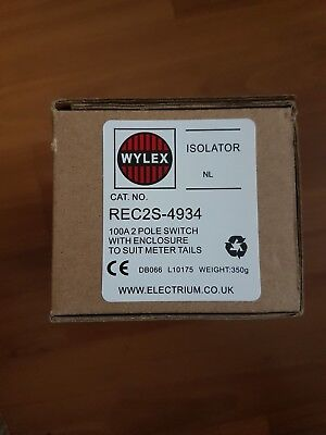 wylex rec2s enclosed isolator switch 100 amp double pole