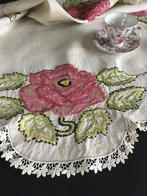 Antique Society Silk Embroidered Linen Tablecloth Topper W/ Lace