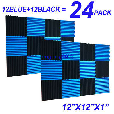 24 Pack BLUE BLACK Acoustic Panels Studio Soundproofing Foam Wedge tiles 1x12x12