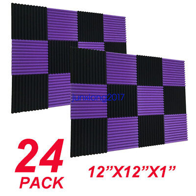 12x12x1 24Pack Black/purple Acoustic Wedge Studio Soundproofing Foam Wall Tiles