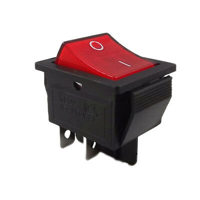 Rocker Switch 15A 250V Mains Red ON / OFF Double Pole 4 Pin DPST LED illuminated