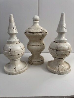 "Shabby Chic Composition Wood Finials - Set Of 3 Approx. 14"" X 6"" Each"