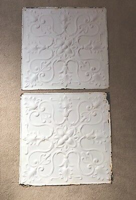 """2-Antique Shabby Chic 24"""" Tin Ceiling Pieces - Off White"""