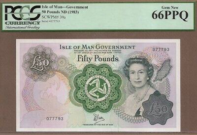 ISLE OF MAN: 50 Pounds Banknote,(UNC PCGS66),P-39a, 1983,No Reserve!