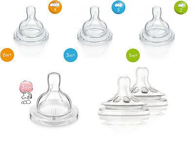 Baby Newborn Bottle Teat Vent Fast Slow Flow Philips Avent Natural Classic
