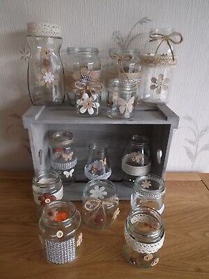Wedding Table Centre Pieces 12 Decorated Flowers Jars Rustic Vintage Style