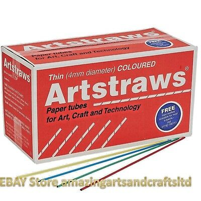 Artstraws Long Assorted Colour Paper Straws 4mm 1800pcs Art Straws Crafts