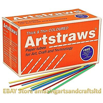 Artstraws Long Assorted Colour Paper Straws 4mm and 6mm Art Straws Crafts