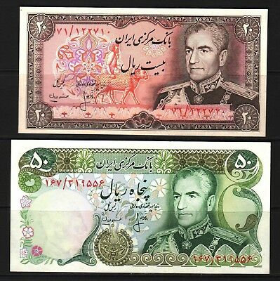 M-East ND1974-79 MR Shah Pahlavi 20-50 Rial Banknotes P100a2-101c  XF++ Conditio