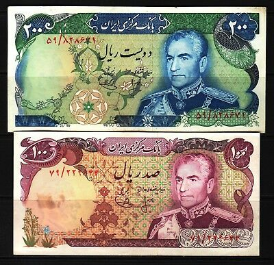 M-East ND1974-79 MR Shah Pahlavi 100-200 Rial Banknotes P102a-103a XF+++