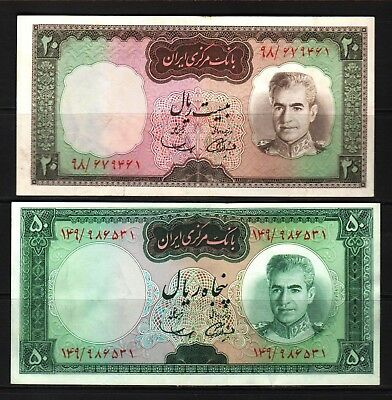 M-East ND1969 MR Shah Pahlavi 20-50 Rial P84-85a Banknote  XF Condition