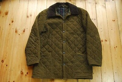 Men's Green Cotton Quilted CORDUROY LIDDESDALE D1602 Jacket Medium
