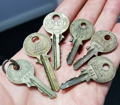 Old Antique Vintage Flat YALE & TOWNE Y & T Keys Steampunk Key Necklace Pendants