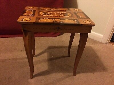 Italian hand inlaid marquetry, antique musical jewellery/sewing box table