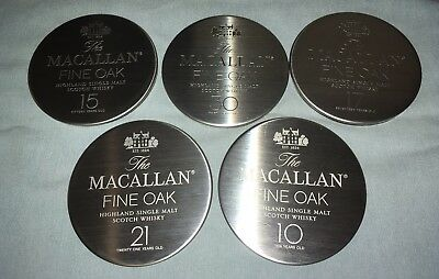 Macallan Scotch Whisky Coasters Set Of 5 Stainless Color Fine Oak 10 15 17 21 30