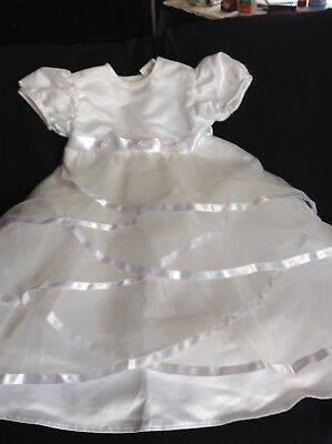 new baby girl white christening dress size 6m
