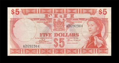 1974 GOVERNMENT OF FIJI QEII $5 **Sig. Earland** (( EF ))