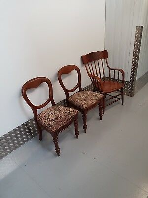 Pair Of Antique Victorian Mahogany Balloon-Back Chairs - Two Dining Chairs