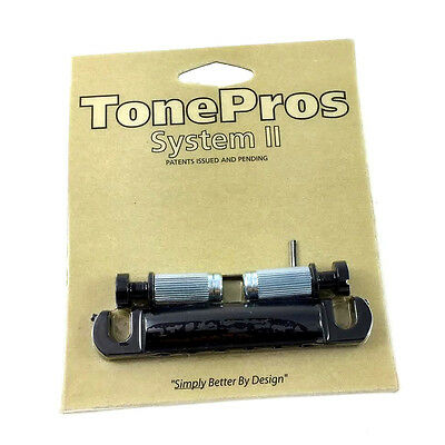Black NEW TonePros T1ZS-B Locking Stop Tailpiece for USA Gibson® Guitars