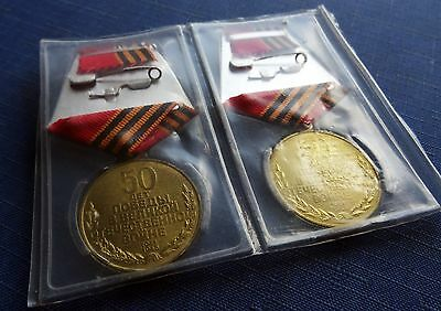Russian Soviet USSR 2 Medals 50 Years Victory World War 2 1941-1945 New Packed