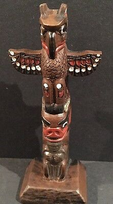 """Vintage Canadian Boma Hand painted 2 Figure Totem 4.5"""""""