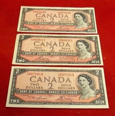 Lot of # 3 1954 Canada $ 2 Currency Notes UNC.Serial KG/VG/TG