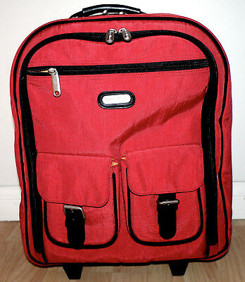 de544af8dc2 BAGGALLINI Rolling Luggage Carry On Travel Bag Red Nylon Multiple  Compartments